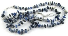 Denim Blue Sodalite gemstone chip lanyard  perfect by OklahomaMama, $17.00