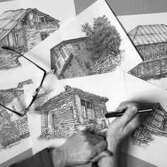 AFSHIN AMINI ART STUDIO | #AfshinAminiArt #PenAndInkDrawing #Sketchbook #Art #Architecture #Drawing #Sketching #PenDrawing #InkDrawing House Sketch, Ink Pen Drawings, Vernacular Architecture, Drawing Artist, First Art, Ink Art, Sketching, Studio, Sketchbooks
