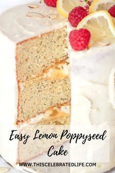 Lemon poppyseed cake - one of the best cake recipes ever! A moist cake recipe, filled with easy homemade lemon curd, and topped with delicious lemon cream cheese frosting. Easy cake recipes are my favorite - no need to make them complicated! And this easy lemon poppyseed cake recipe is a perfect example. Moist lemon poppyseed cake from scratch is easier than you might think. A perfect spring or summer dessert recipe - make it as a Mother's Day dessert or Easter brunch idea! Lemon Desserts, Lemon Recipes, Cake Recipes, Dessert Recipes, Lemon Cream Cheese Frosting, Poppy Seed Cake, Lemon Blueberry Muffins, Cold Cake, Coffee Cake