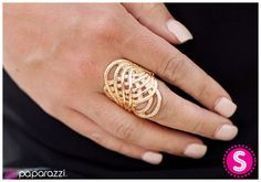 Northern Lights - Gold Stretch Ring- ONLY $5 www.GlamGypsy.com (Paparazzi Accessories Independent Consultant) ALL Jewelry is Lead/Nickel Free!