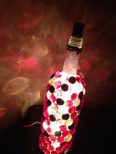 Decorative wine bottle night light in red/gold/black. on Etsy, $25.00