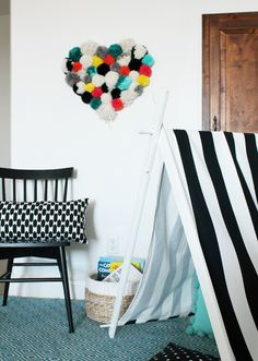 DIY Pom Pom Wall Hanging by My Sister's Suitcase for Tatertots and Jello