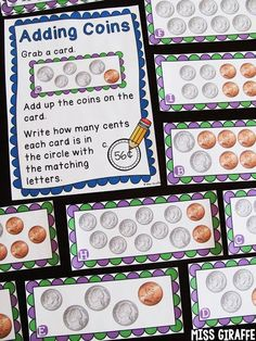Adding Coins money centers for math rotations - perfect for practicing counting change up to a dollar Second Grade Math, First Grade Classroom, Math Classroom, Future Classroom, Grade 1, Third Grade, Classroom Ideas, Money Games For Kids, Money Activities