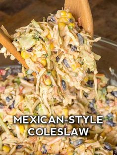 Mexican food recipes 349803096060427615 - Mexican Corn Coleslaw – 12 Tomatoes Source by ckmccann Mexican Dishes, Mexican Food Recipes, Mexican Slaw, Mexican Cole Slaw Recipe, Mexican Potluck, Mexican Corn Salad, Mexican Appetizers, Mexican Coleslaw Recipe Cilantro, Healthy Mexican Food