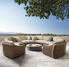 Provence Round Customizable Sectional from RH email blast Pallet Furniture Bar, Outdoor Pool Furniture, Resin Wicker Patio Furniture, Outdoor Couch, Patio Furniture Sets, Outdoor Living, Outdoor Decor, Furniture Stores, Cheap Furniture