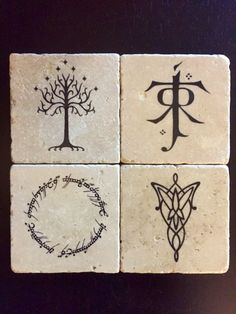 Lord of the Rings! This set of coasters is designed around some symbols from LotR. We have the White Tree of Gondor, the J.R.R. Tolkien symbol, the inscription on The One Ring, and the Evenstar necklace from Arwen. All coasters are made on 4X4 tiles and have a felt squares on the bottom to prevent any scratching on your furniture. This listing includes: - Four tile coasters of LotR symbols. - Each tile has a felt square bottom - Each tile is water sealed All orders are shipped 2-day…