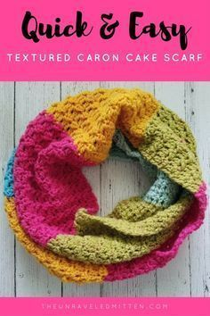 Quick and Easy Textured Caron Cake Scarf - Free Crochet Pattern at The Unraveled Mitten Crochet Beanie, Crochet Shawl, Crochet Yarn, Easy Crochet, Infinity Scarf Crochet, Infinity Scarfs, Crotchet, Crochet Ideas, Infinity Rings