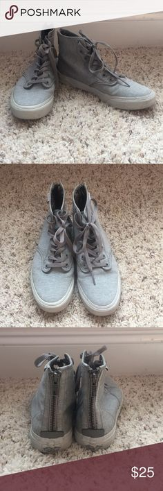 48980f2c2d Grey hightop vans with zipper in the back. Hardly worn Women s size 6 Men s  Vans Shoes Sneakers · High Top ...