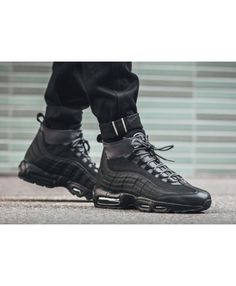 Nike Air Max 95 Sneakerboot Triple Black Trainer Triple Black Trainers, All Black Sneakers, Nike Air Max For Women, Nike Women, Nike Air Max Trainers, Air Max 95, Cleats, Combat Boots, Shoes