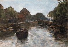 Artwork by Willem de Zwart, Barges in a canal, The Hague (?), circa 1892 Made of watercolour and bodycolour on paper
