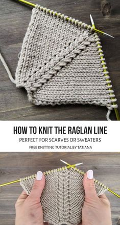 Learn how to knit the raglan line in two different styles. These beginner friendly patterns come with step by step photo and video tutorials. Knitting Paterns, Knit Patterns, Crochet Stitches, Knit Crochet, Crochet Hats, Knitting Help, Easy Knitting, Loom Knitting, Creations