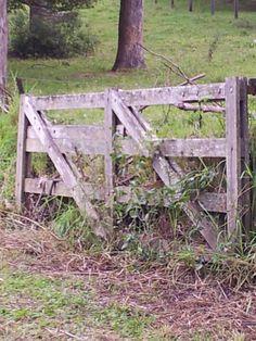*through an old farm gate*