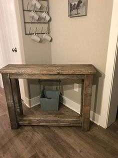 This beautiful solid wood custom built entryway/hallway/foyer/sofa table is stained in an old barn wood look, measures , add Xs on the side add Pallet Furniture, Rustic Furniture, Furniture Design, Living Room Sofa, Living Room Decor, Barn Siding, Old Barn Wood, Small Tables, Entryway Tables