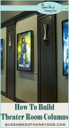 How to build columns for a theater room. Simple and easy DIY project with step b… How to build columns for a theater room. Simple and easy DIY project with step by step instructions. Home Theater Basement, Theater Room Decor, Home Theater Room Design, Movie Theater Rooms, Home Cinema Room, Home Theater Setup, Home Theater Seating, Basement Renovations, Basement Ideas