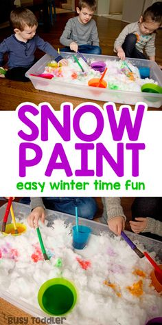 Paint Snow Winter Activity for Kids # winter activities for kids Paint Snow Winter Activity for Kids - Busy Toddler Winter Activities For Toddlers, Snow Activities, Painting Activities, Toddler Learning Activities, Winter Crafts For Kids, Winter Kids, Toddler Preschool, Toddler Crafts, Outside Activities For Kids