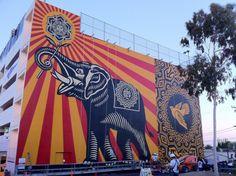 Shepard Fairey Peace Elephant New Mural In Los Angeles At The West Hollywood Library StreetArtNews #streetart #elephant