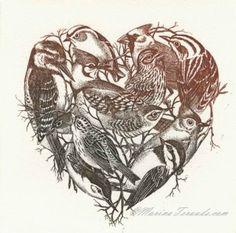 Birdwatcher Heart. Etching. Marina taruda