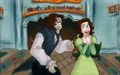 Rumpel gives belle a lliberary