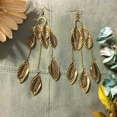 Antiqued gold drop leaf earrings. Fish hook ear wire Lead and nickel safe Second Star Sisters Jewelry Earrings