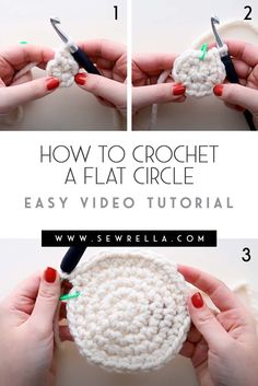How to crochet a flat circle video tutorial and written instructions with pattern recommendations. Beginner friendly and easy to learn! Crochet Circle Pattern, Crochet Circles, Basic Crochet Stitches, Crochet Patterns, Crochet Instructions, Tutorial Crochet, Crochet Tutorials, Diy Crochet, Crochet Crafts