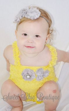 Small Yellow & Grey Lace Baby Romper by BoutiqueSweetChic, $30.00