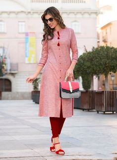 Red Heavy Cotton Regular Wear Plain Kurti