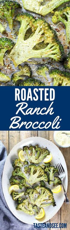 Roasted Ranch Broccoli with olive oil, lemon, & ranch seasoning… finished with parmesan cheese. Super simple, plus a quick and healthy vegetable recipe. Pin this clean eating broccoli recipe to try later or to make during meal prep! Cooked Vegetable Recipes, Spiral Vegetable Recipes, Vegetable Korma Recipe, Broccoli Recipes, Vegetable Side Dishes, Veggie Recipes, Vegetable Samosa, Vegetarian Recipes, Vegetable Casserole