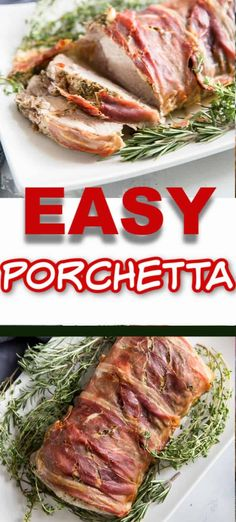 A thick and juicy porchetta roast will be the main attraction at any special occasion! This easy baked pork is flavored with herbs and prosciutto to give it extreme flavor! Porchetta Roast, Porchetta Recipes, Pork Roast Recipes, Meat Recipes, Cooking Recipes, Protein Recipes, Yummy Recipes, Salad Recipes