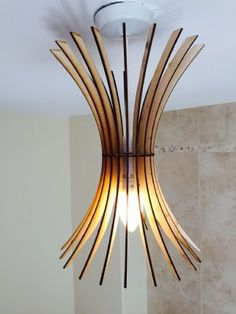 Burst Design Laser Cut Wooden Hanging Lamp Shade