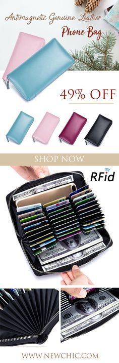 RFID Antimagnetic Genuine Leather 36 Card Slots 6inch Phone Bag Card Holder Long Wallet