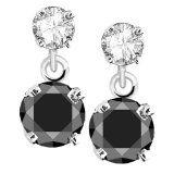 14k White Gold Black and 1/2 ct White Diamond Dangle Earrings