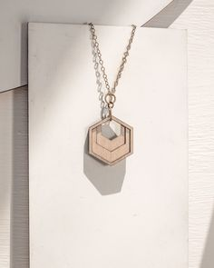 delicate hexagon necklace - necklace with hexagon charm - layered wooden necklace - fool's gold Wooden Necklace, Brass Necklace, Arrow Necklace, Half Moon Necklace, 3d Printed Jewelry, Fool Gold, Laser Cut Wood, Gold Set, Brass Chain