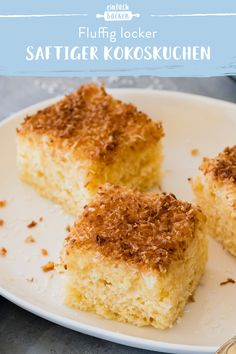 Juicy coconut cake - Blechkuchen – schnelle & einfache Rezepte - This coconut cake particularly impresses with its juicy consistency. The sheet cake with buttermilk - Easy Cake Recipes, Healthy Dessert Recipes, Easy Desserts, Smoothie Recipes, Coconut Desserts, Quick Recipes, Dinner Recipes, Dessert Simple, Evening Meals