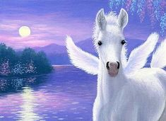 Pegasus-foal-horse-evening-lake-moon-fantasy-limited-edition-aceo-print-art