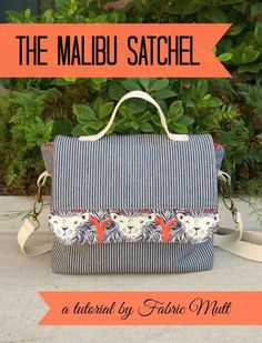 "A free sewing tutorial from Heidi Staples of Fabric Mutt demonstrating how she creates her Malibu Satchel bag.  This messenger-style satchel bag measures 9 x 10 x 3"". The Malibu Satchel also includes a removable cross-body strap and a top handle for carrying comfortably.  This is a wonderful commuter bag for college or as an everyday bag for anyone. Get the free Malibu Satchel Sewing Tutorial from Fabric Mutt   The Simple Satchel PDF Sewing Pattern More satchel sewing projects:  The Simple…"