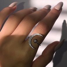 Buy Dainty Adjustable Crescent Moon & Star Ring Silver White Sapphire Jewelry Gifts at Wish - Shopping Made Fun Hand Jewelry, Girls Jewelry, Cute Jewelry, Jewelry Rings, Jewelery, Silver Jewelry, Silver Earrings, Moon Jewelry, Jewelry Ideas