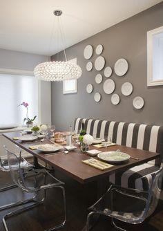 Ideen für Zwischenfarben leuchter tisch stuhl gestreift teller braun
