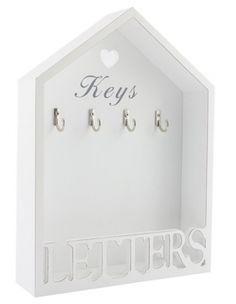 Vintage White Letter Rack & 3 Key Holder Hooks Storage Shabby Chic Wall Mounted for sale online Key And Letter Holder, Letter Rack, Wall Key Holder, Key Holders, White Letters, Wooden Letters, Vintage Shabby Chic, Shabby Chic Style, Vintage Style