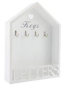 A beautiful shabby chic/ countrystyle white wooden house shaped keys and letter rack which can be hung on a wall or placed on a surface/shelf.  It displays the word 'Keys' underneath a heart cut out near the top of this house shaped rack with four metal hooks to hold keys which sit below it. There is the word 'LETTERS' in large cut outs at the base of the rack. This makes a useful and wonderful addition to the home to keep keys and letters safe, as well as a perfect gift. Size = 22cm width x