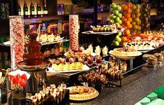 Dessert Buffet. Assortment of fresh fruit, petit fours and bite sized desserts