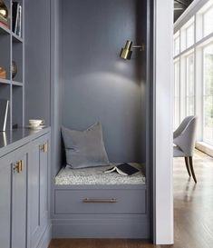Family Friendly Flex Room Ideas: Elegant blue hallway with cozy reading nook Small Room Design, Family Room Design, Contemporary Interior Design, Home Interior Design, Interior Ideas, Modern Design, Home Office Design, House Design, Living Room Designs