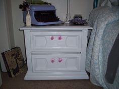 Shabby Chic Dresser..white paint and pink glass drawer pulls