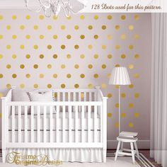 De Pared Puntos Vivero Decor Gold Dot Wall Decals Oro Vinilo