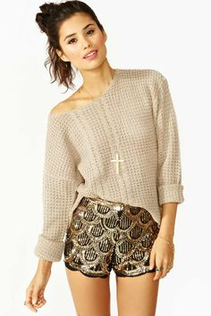 Deco Sequin Shorts- gold embellishments