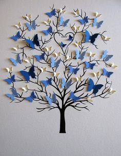 Butterfly tree craft gifts for grandparents Family Tree of Butterflies in YOUR Choice of Colors for Each Generation / Personalized with Fa Home Crafts, Diy And Crafts, Crafts For Kids, Arts And Crafts, Paper Crafts, Paper Flowers Craft, Diy Paper, Craft Ideas For Teen Girls, Paper Flower Garlands