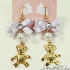Ribbon Teddy Bear Crystal Gold Earrings