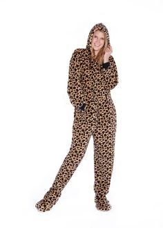ef2e2cbf95 Plush Adult Footed Pajamas with Hood in Leopard Print