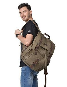 6f1954c1216a Travel Leather School Hiking Camping Rucksack Large School Bag pocket 17  Inch