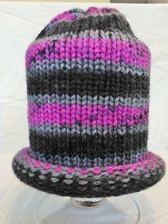 Chunky yarn knit hat made on the addi express king size knitting machine. Pink, gray, black variegated yarn created the striped pattern. Addi Knitting Machine, Circular Knitting Machine, Loom Knitting Stitches, Knitting Machine Patterns, Sock Knitting, Hat Patterns, Knitting Ideas, Easy Knit Hat, Knitted Hats