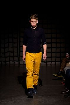 Trousers in yellow, green or red are almost always awesome!-  featuring pskaufman handpainted leather shoes